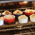 cherry crumble in the oven