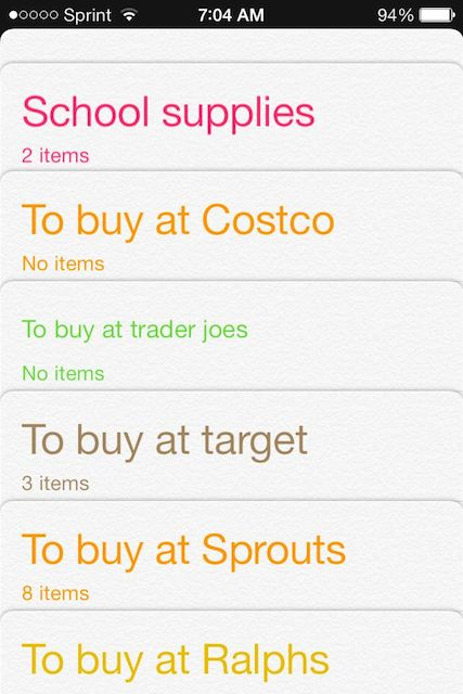 screenshot of reminders app