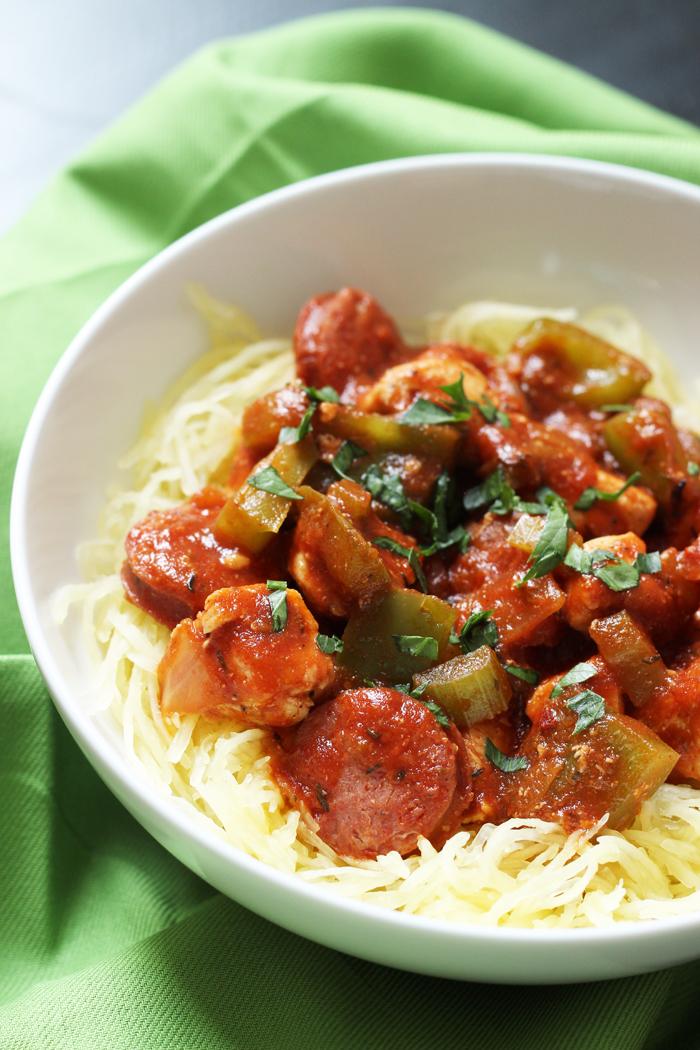 A bowl of spaghetti squash jambalaya