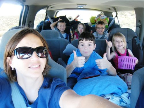 picture of jessica and kids in car on road trip