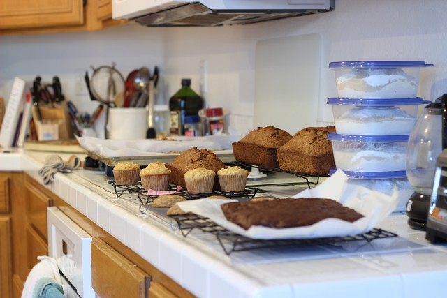 A kitchen filled with with Baked goods and Breads