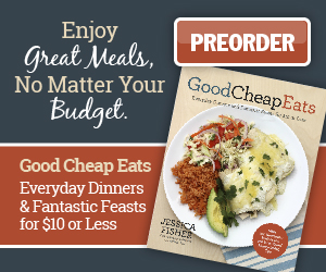 Good Cheap Eats: Everyday Dinner and Fantastic Feasts for $10 or Less is my concentrated effort to help you make the most of your grocery money. You don't have to choose between real good food and a low grocery bill. You can have both!
