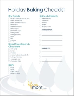 Free Printable Baking Ingredients Checklist - Download a free printable to help you take inventory and stock up on holiday baking supplies.