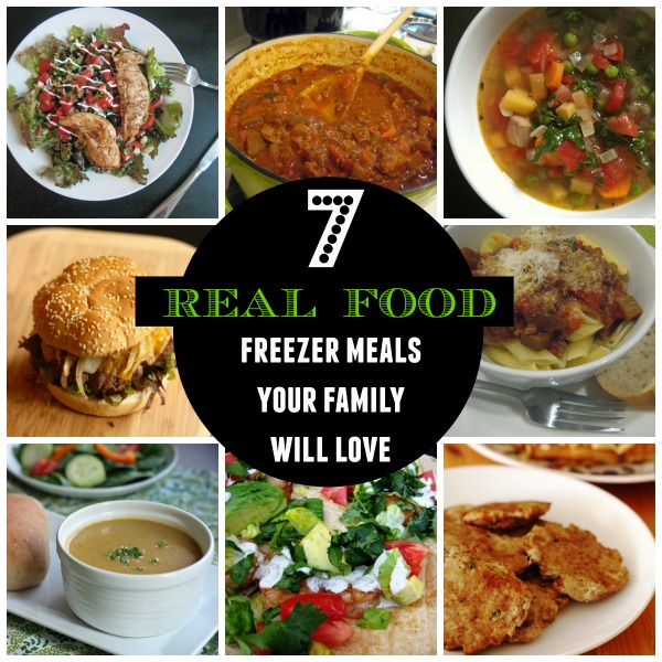 a collage of real food freezer meals