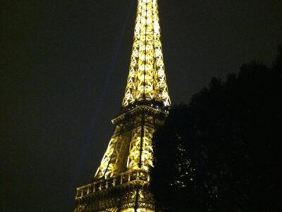 eiffel tower at night lit paris