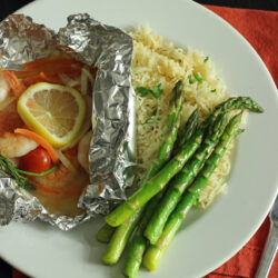 fish packet asparagus and rice