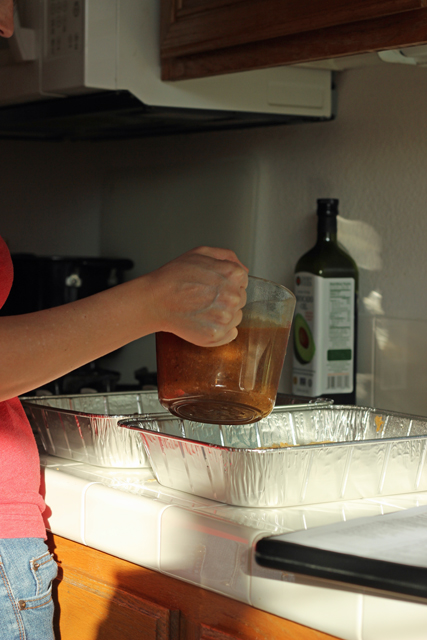freezer cooking with sauce in pitcher