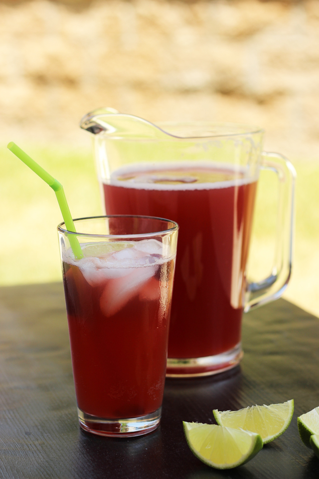 cherry limeade in pitcher