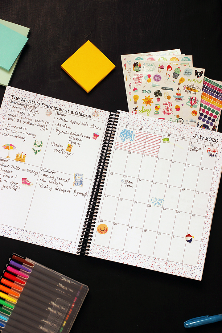 planner open to july monthly pages