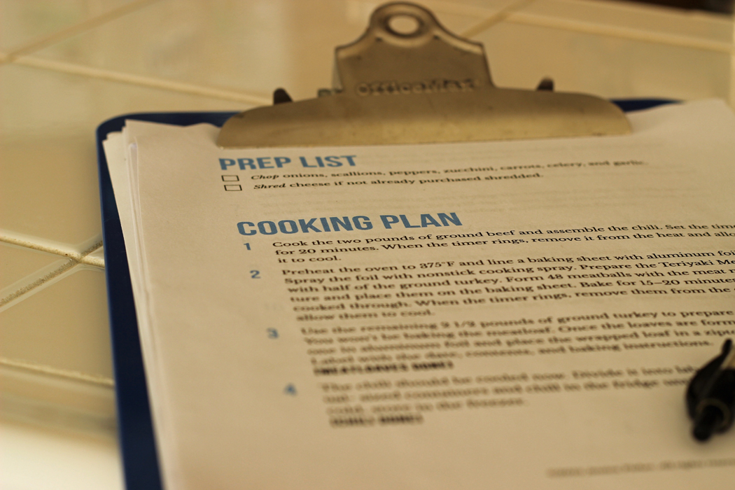 freezer cooking plan on clipboard