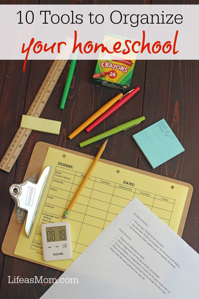 10 Tools to Organize Your Homeschool | Life as Mom - You can facilitate learning and peace when you organize your homeschool. Here are 10 tools to help you get organized and enjoy your homeschool more.