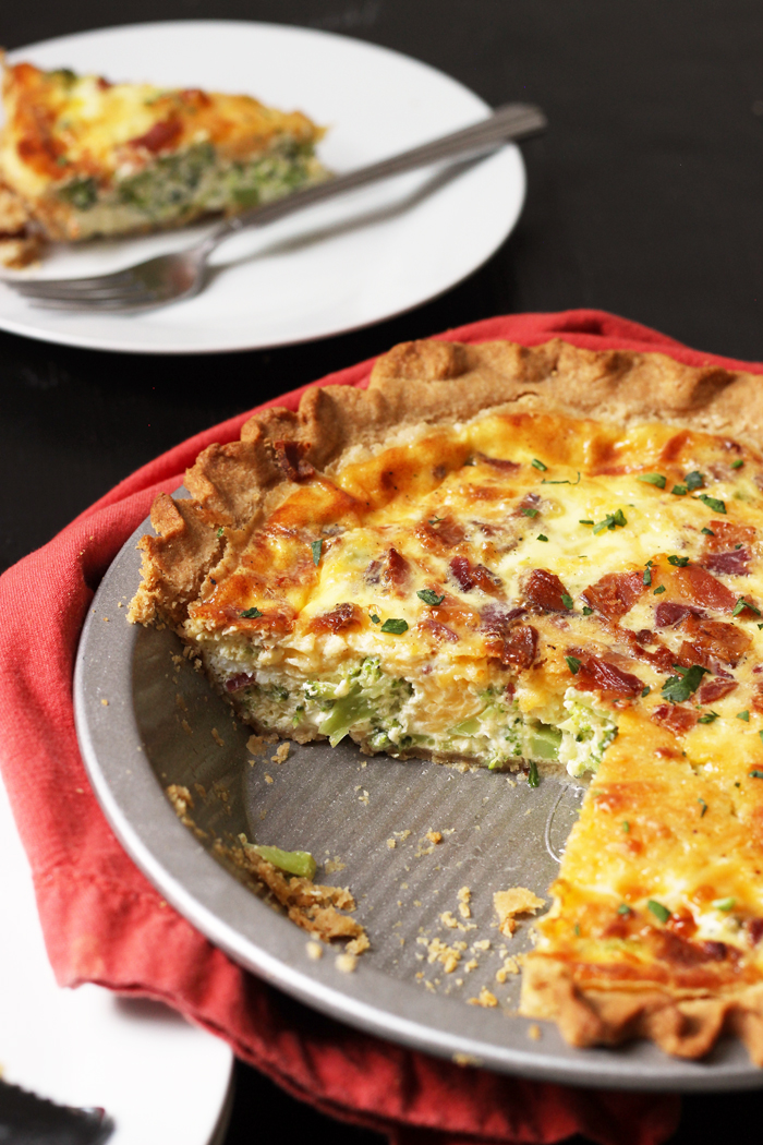 quiche dinner on table