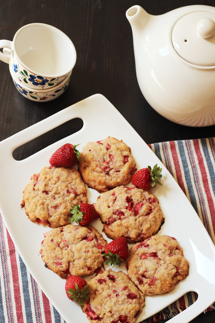 A plate of strawberry oat cakes
