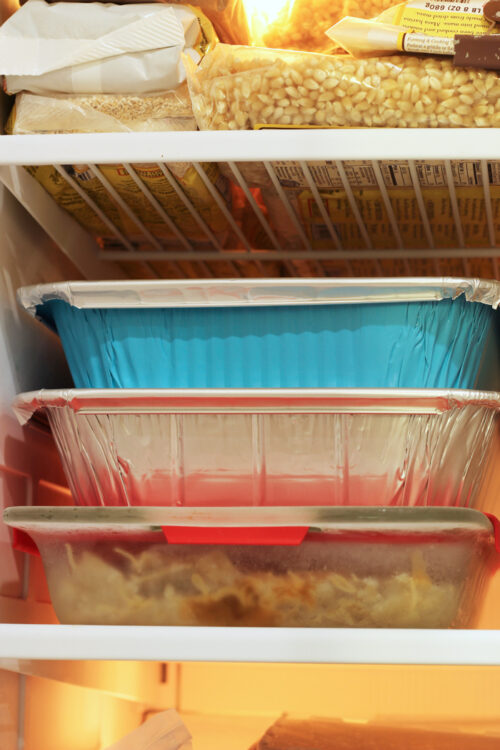 stacks of meals in the freezer