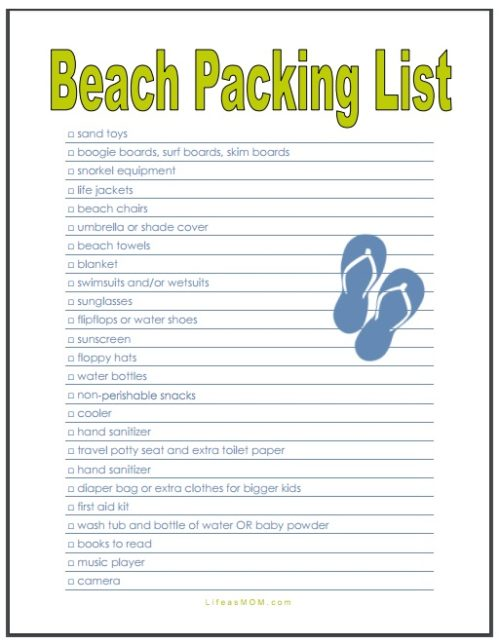 Beach Packing List  Free Printable From Life As Mom