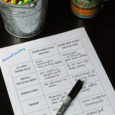 personal inventory worksheet with pens and mug of tea