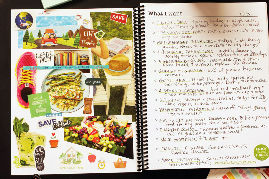 vision page of planner illustrated with pictures and words
