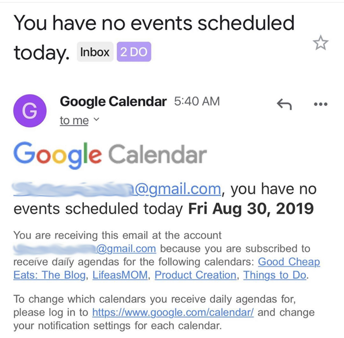 screenshot of google calendar alert
