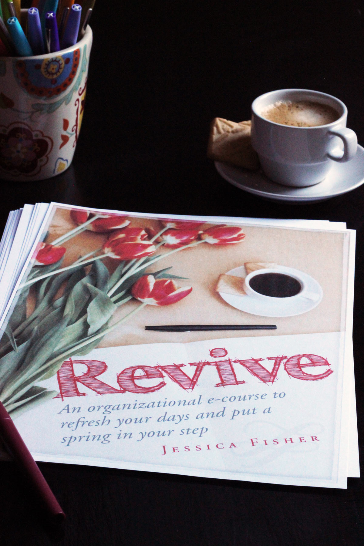 revive worksheets with pens and coffee