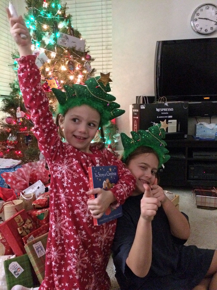 girl dressed as statue of liberty with a christmas theme