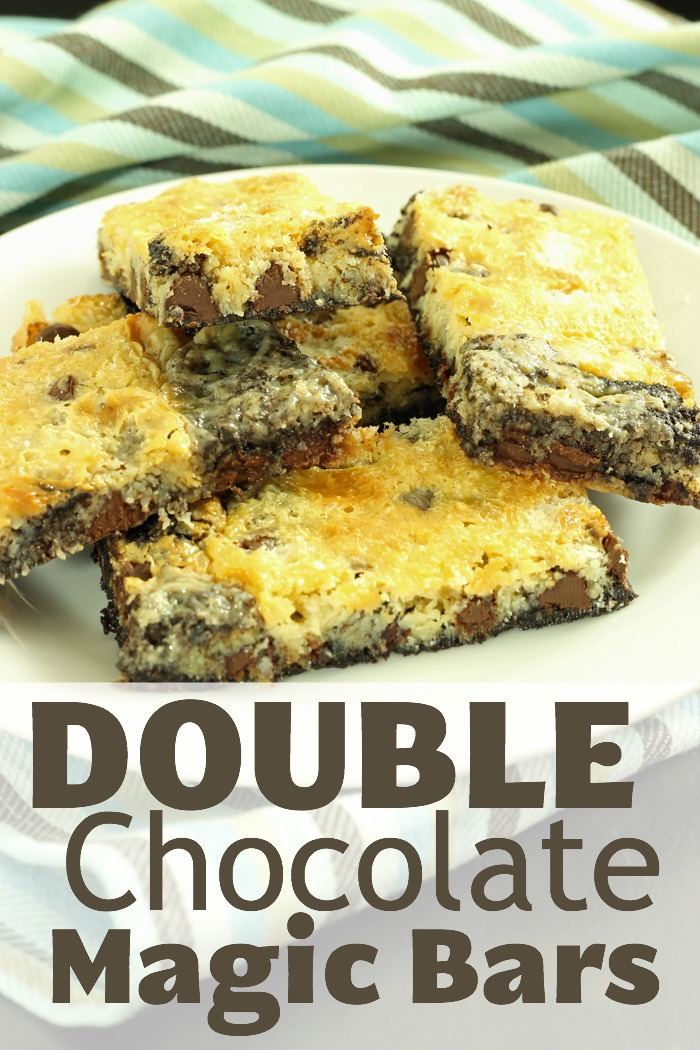 double chocolate magic bars on plate