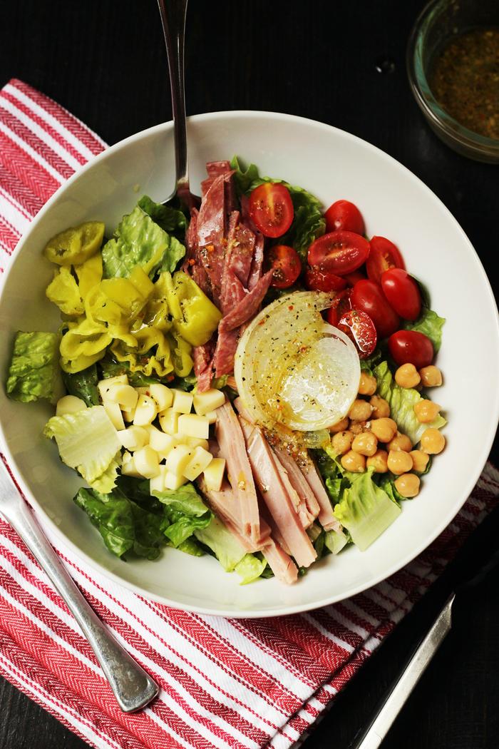submarine salad in big white bowl