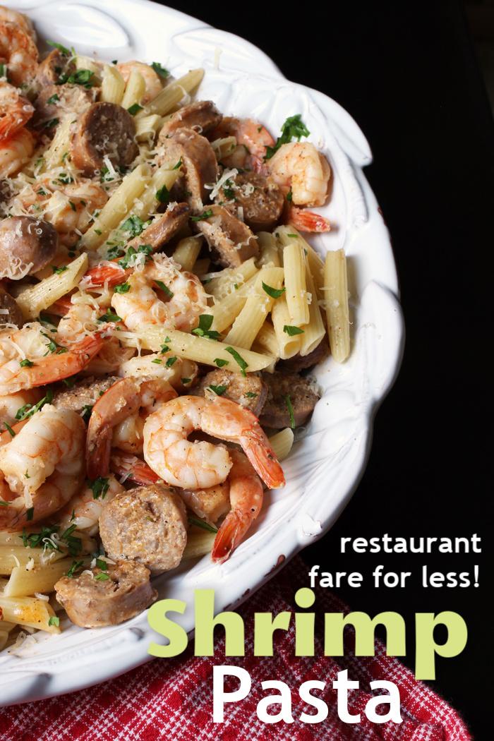 shrimp pasta in a large platter