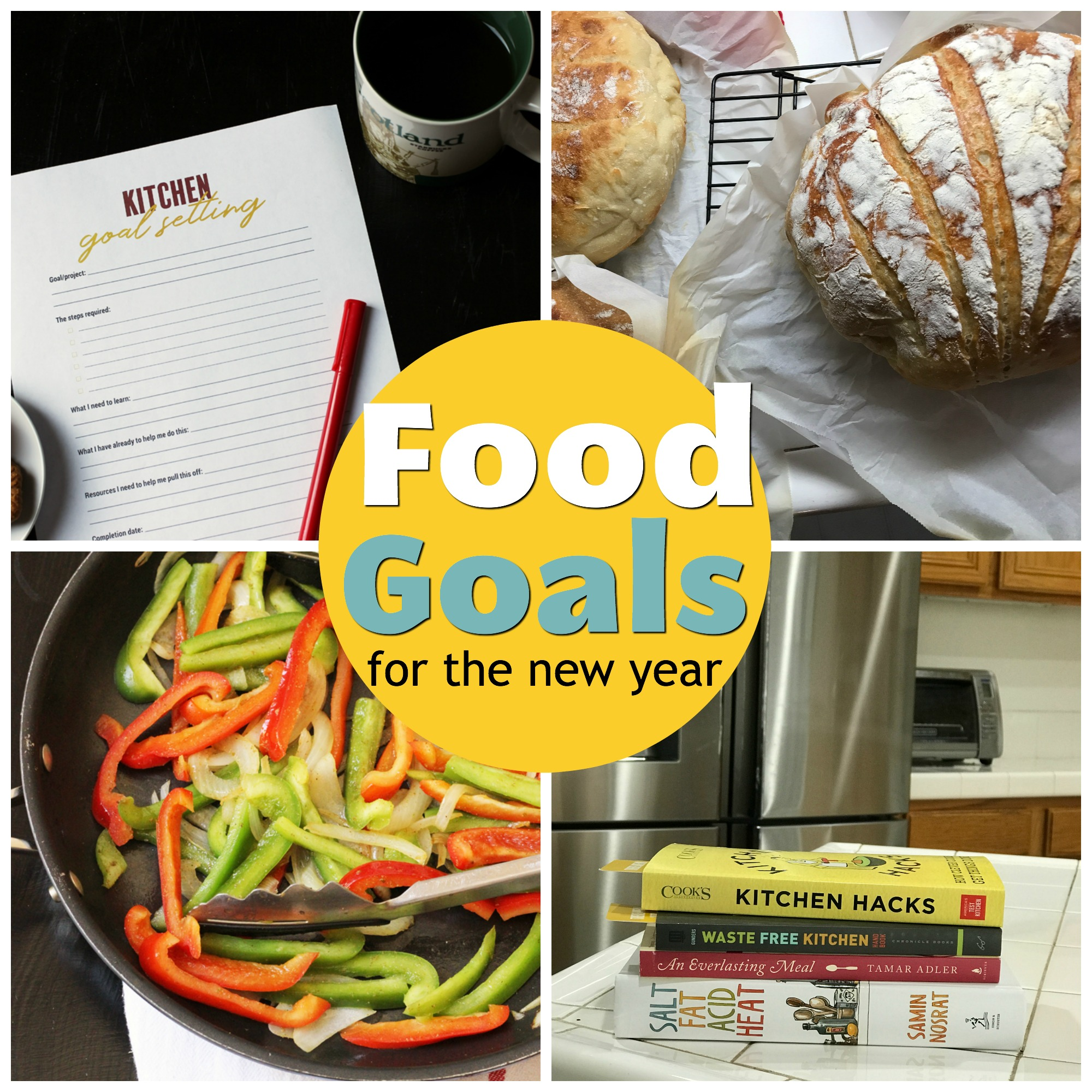 collage of food goals for the new year