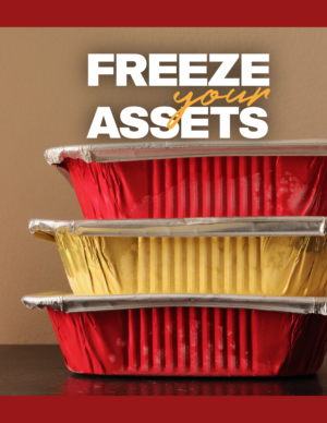 stack of red and gold containers with freezer meals