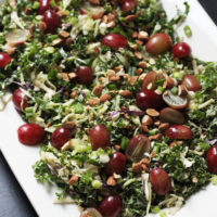 Kale Salad with Red Grapes, Almonds, and Scallions
