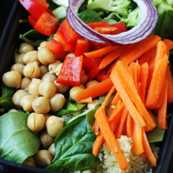 packed salad of quinoa and vegetables
