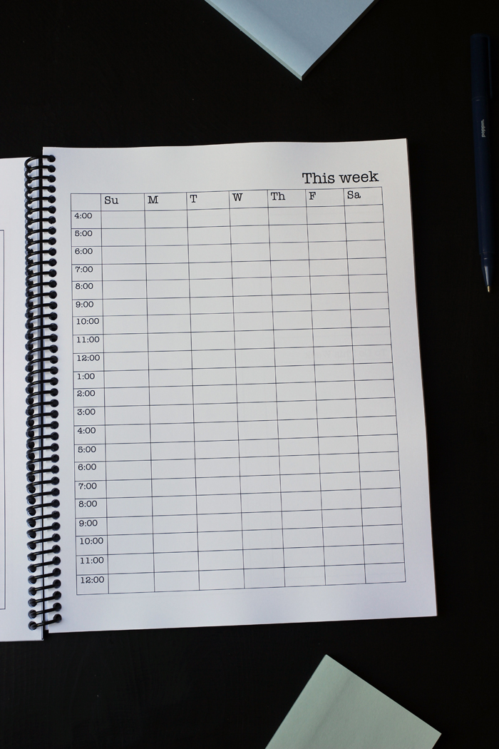 student planner hourly schedule