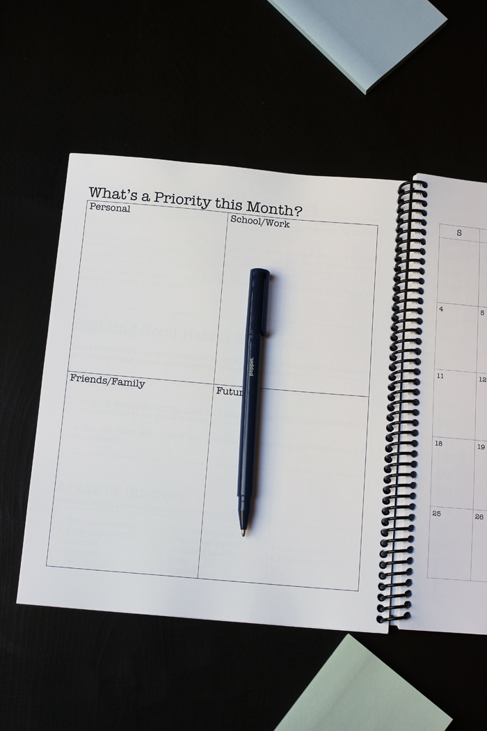 student planner priority page for the month