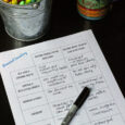 personal inventory worksheet on table with pens