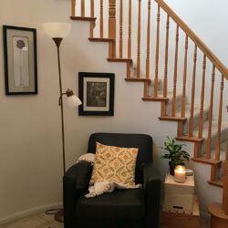 reading nook by stairs