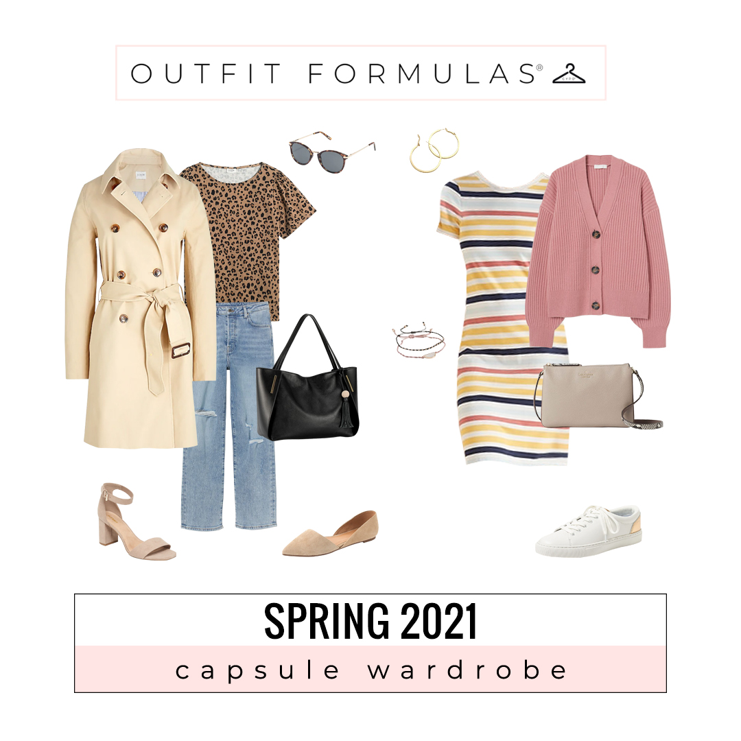 two different spring outfits styled for challenge