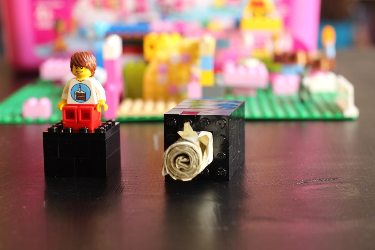 money in lego box